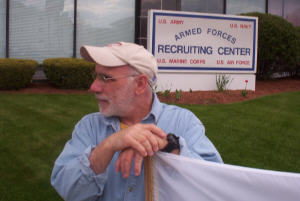 Bob Flanagan vigils against war at the Recruiting Center in Worcester, Mass.