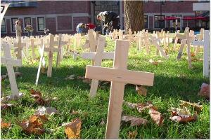 2,000 crosses at Clark University, Nov 18, 2005. Photo by Emma Klein.