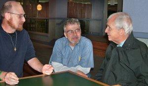 Scott Schaeffer-Duffy, Tom Lewis, Daniel Berrigan. Photo: Kevin Ksen.