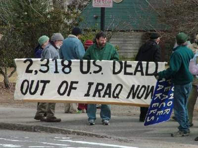 Ken Hannaford-Ricardi demonstrates against the Iraq War in Worcester, 2006
