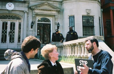 Seth Shames, Helen Goldkind, and Ken Hannaford-Ricardi at the Sudanese Embassy