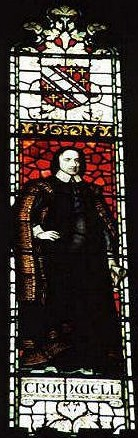 Oliver Cromwell, stained-glass window in Mansfield College, Oxford