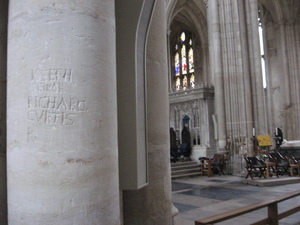 graffiti in Winchester Cathedral, likely left by parliamentary troops