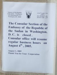 Sign outside Embassy
