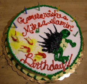 Gamera wishes Mike a slamin birthday (Bean Counter, Worcester)