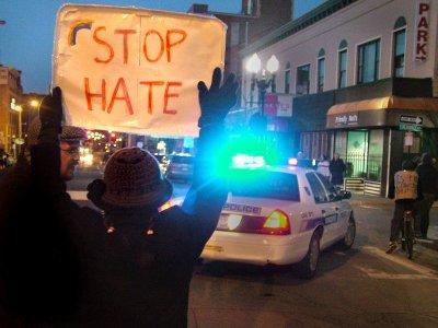 Demonstrators outside Mr. Hetero event, photo by Kevin Ksen from Indymedia