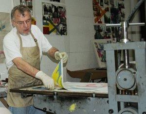 Tom Lewis making a print